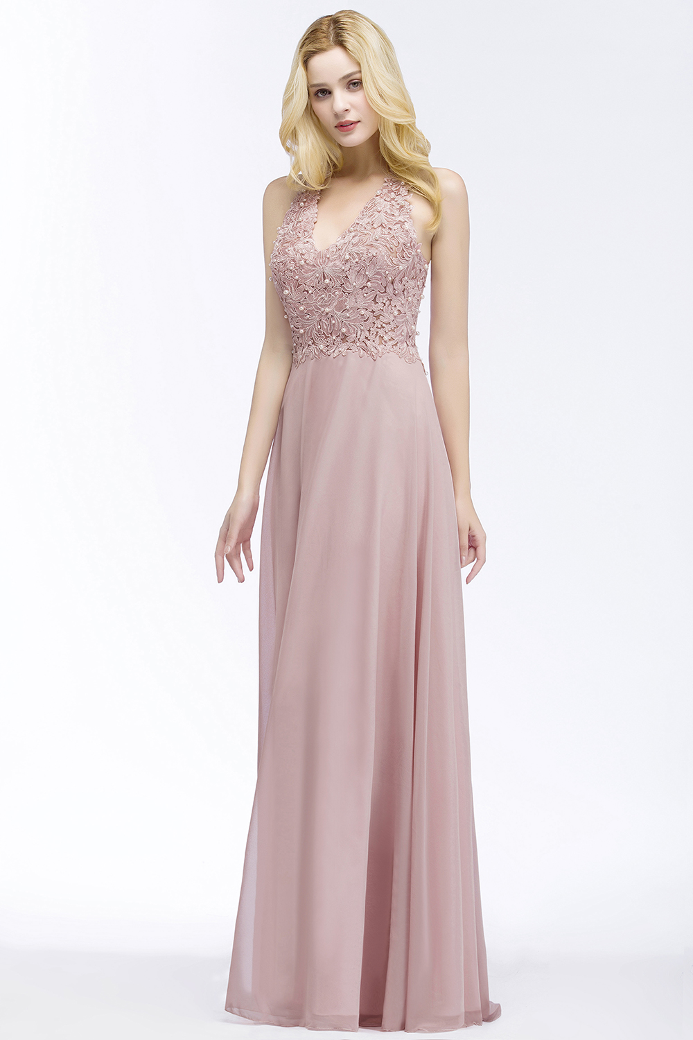 Elegant A Line Illusion Back with Pearls Floor Length Evening Dress 1