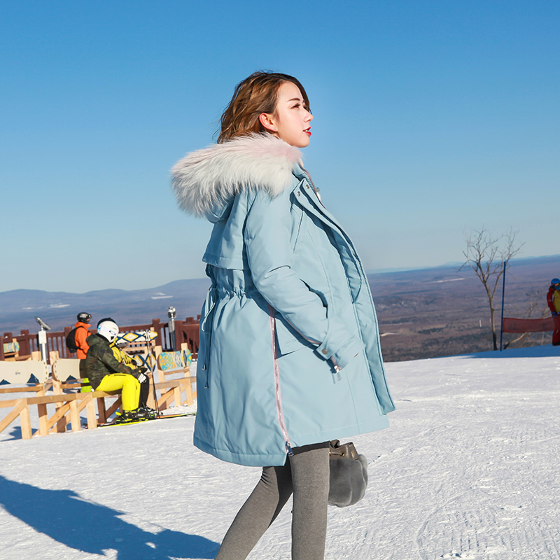 White real raccoon dog fur collar duck   down   jackets women loose fit slim waist   down     coats   outerwear 2018 autumn winter MOVAU0141