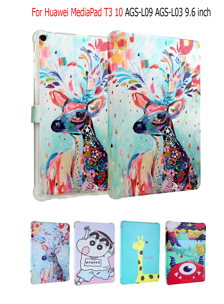 Cute Cartoon PU Smart Case For Huawei MediaPad T3 10 AGS-L09 AGS-L03 9.6 tablet Cover Funda for For Huawei MediaPad T3 10 Cover luxury business case for huawei mediapad t3 10 ags l09 ags l03 9 6 inch cover funda tablet leather hand belt holder stand shell
