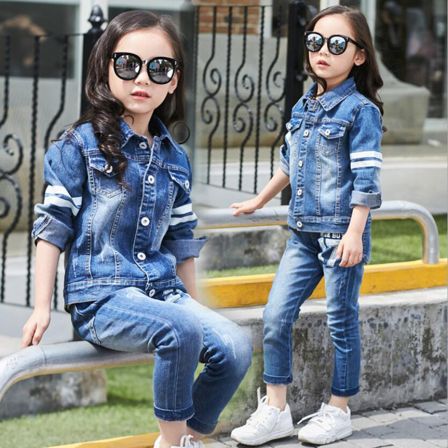 Girls clothes baby 3-11Y girls long sleeve denim clothing set child autumn fashion letter jacket children pants kids outwear 2018 spring autumn infant baby girls denim clothing set 3pcs lace long sleeve t shirts jeans jacket pants outfit