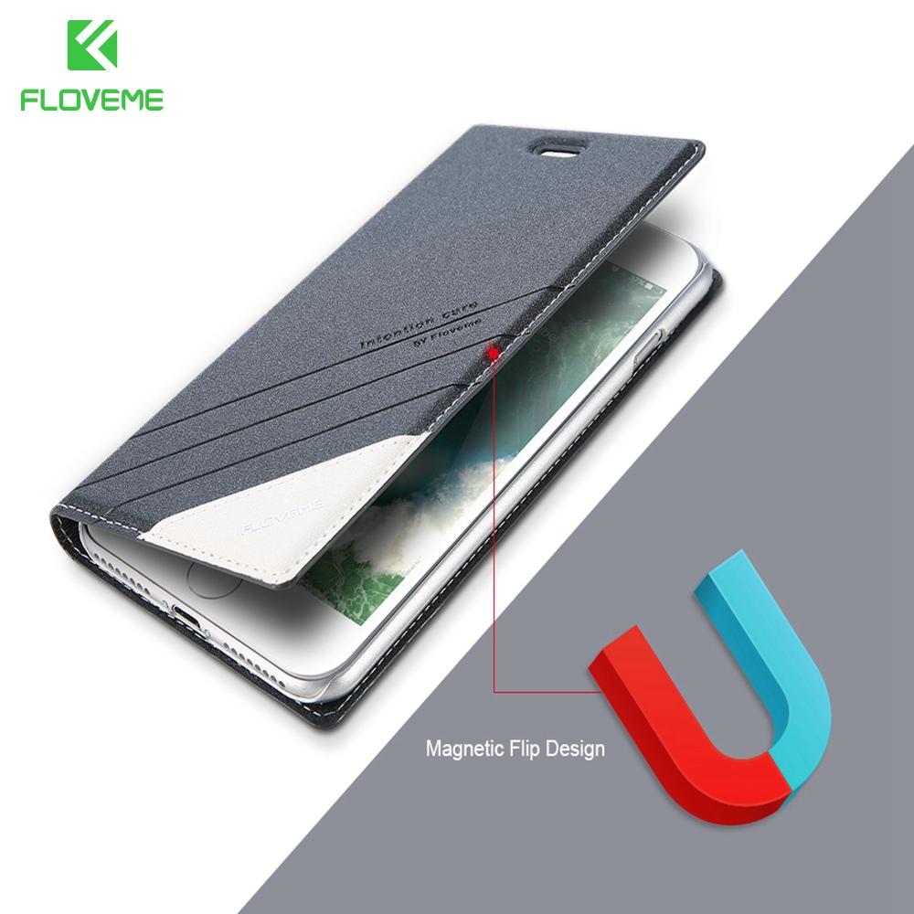 FLOVEME Flip Leather Case For iPhone 6 6S 7 8 Plus Card Slot For iPhone 5 5S SE Classic Case For iPhone X 10 Phone Cover Capa IX ...