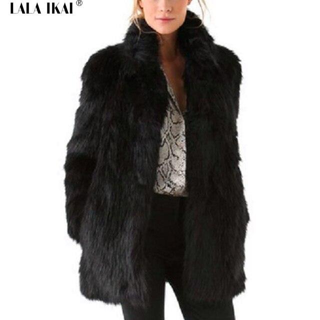 c9f675179d556c Kobiety Futra Stójka Długie Zimowe Futro Szczupła Faux Panie Długie Rękawy  Plus Size Czarne Płaszcze Kobiet