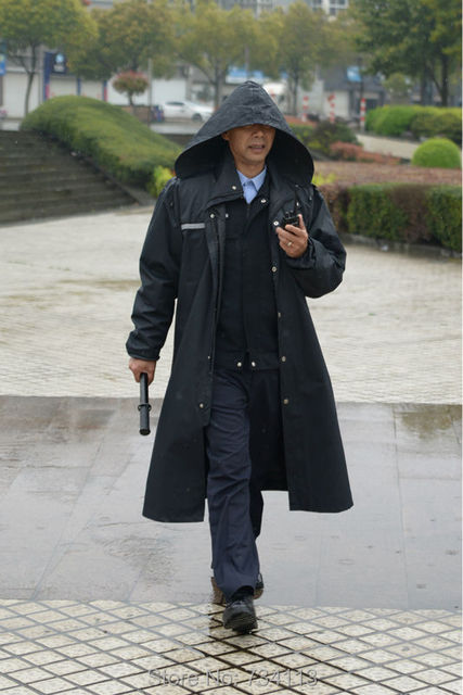 Raincoat Single layer long style Police raincoat fishing raincoat relaxed and comfortable for for 155cm-185cm height men poncho