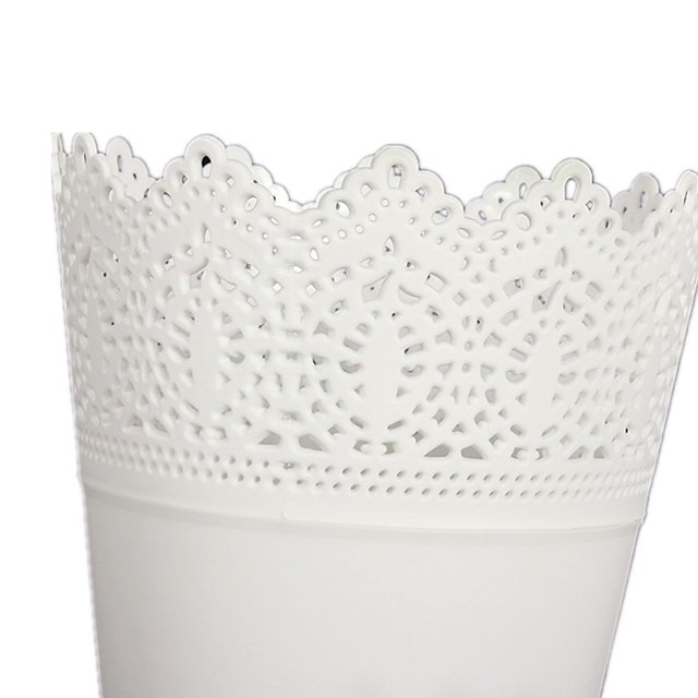 PHFU Crown Lace Flower Plant Pot Planter Holder Decor White