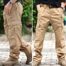 2017 Tactical Casual Cargo Military Pants Men Army Soldier Combat Trousers Travel  Work Multi-Pockets Pants Clothing 4XL Khaki