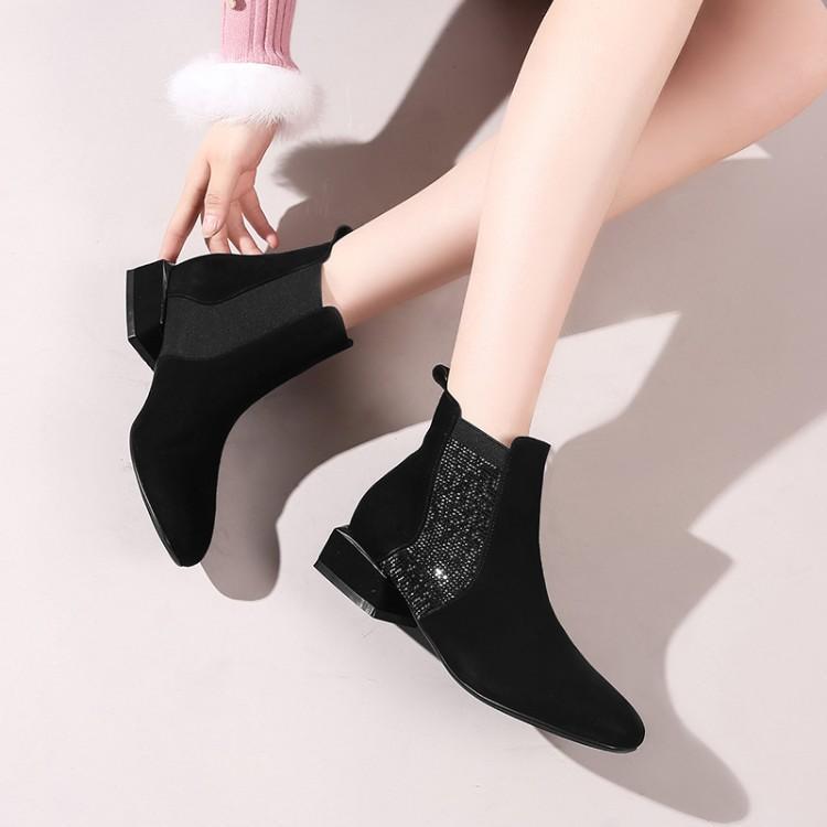 Chaussures Chic Bottes Cuir Chaussons Pour Bling Bout Femmes Dames Carré Chunky Glissement Les Botas Talon D'hiver Chelsea Sur Noir En Marque Cristal wqqPgY