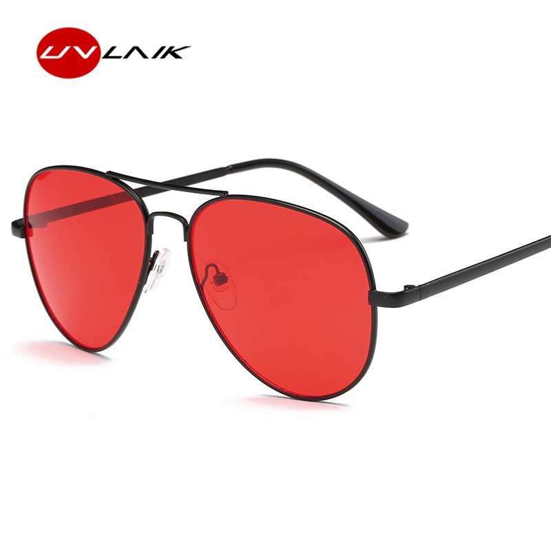 UVLAIK abrigo del Metal gafas de sol hombres Retro diseño clásico mujeres  rojo grande gafas de bbe5207834