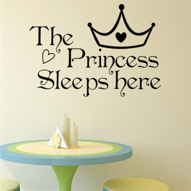 1PCS The Princess Sleeps Here Saying Quote Wall Sticker Vinyl Home Bedroom  Decals Kid Girl Baby Part 57