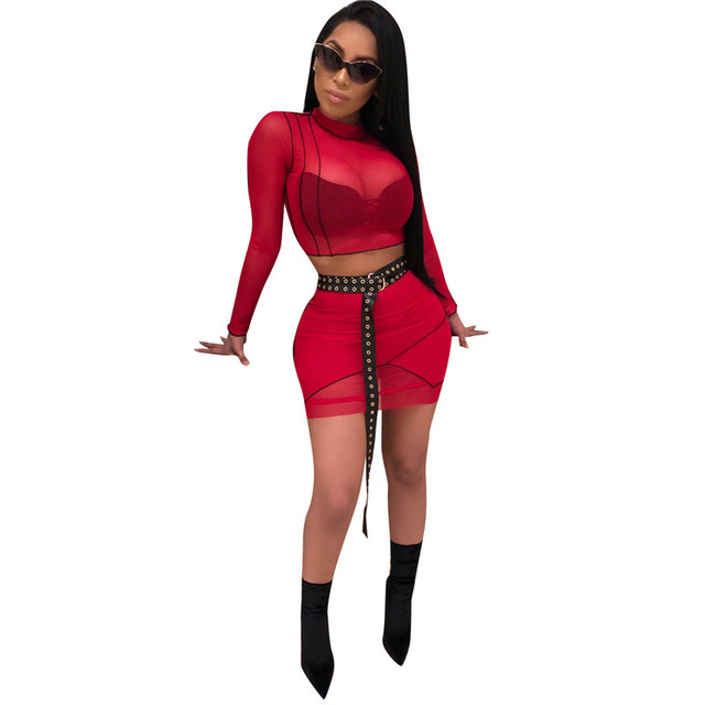 115fbccd4b9 Sexy Perspective Mesh Outfit Women Two 2 Piece Set 2018 Summer Fashion Turtleneck  Long Sleeve Cropped Tops and Mini Skirt Sets
