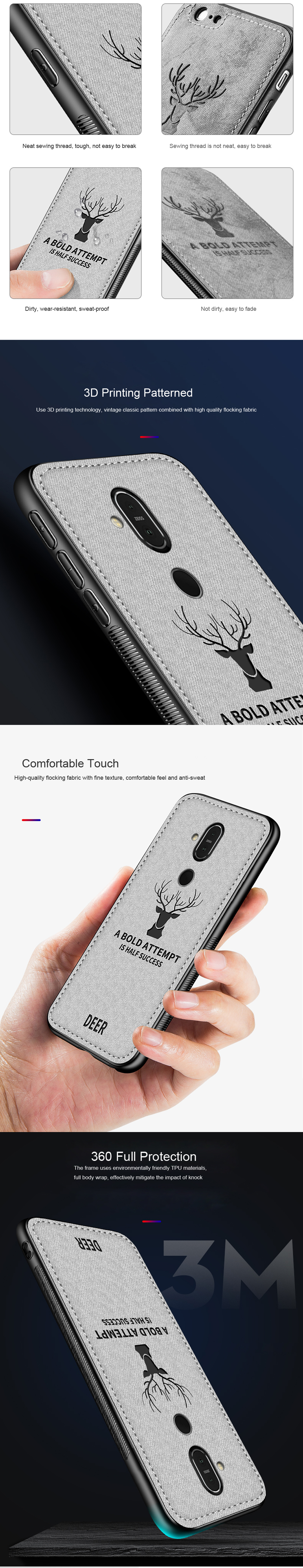 DEER Patterned Classic Retro Cloth Cases for Nokia 7 Plus x7 x6 x5 8 Sirocco Case Soft Back Cover For Nokia X7 X6 X5 Shell Coque (9)