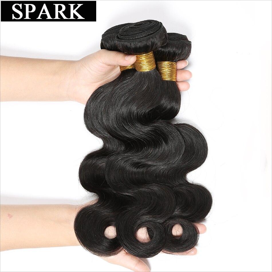 SPARK Brazilian Virgin Hair Body Wave 1 stycke 8-26 tums naturfärg - Mänskligt hår (svart) - Foto 2