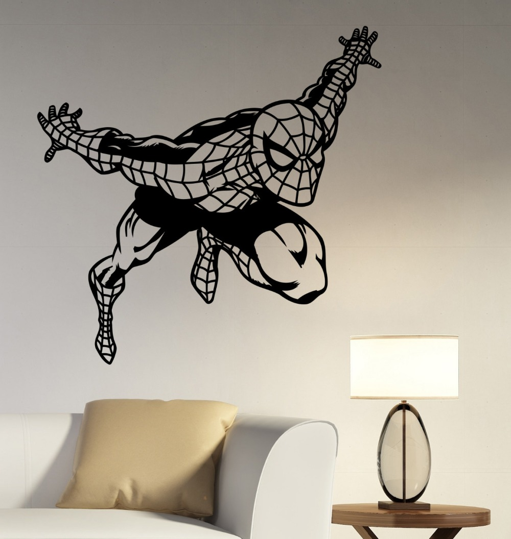 online get cheap marvel wall mural aliexpress com alibaba group superhero style wall decal marvel comics spider art mural vinyl wall stickers for kids rooms playroom