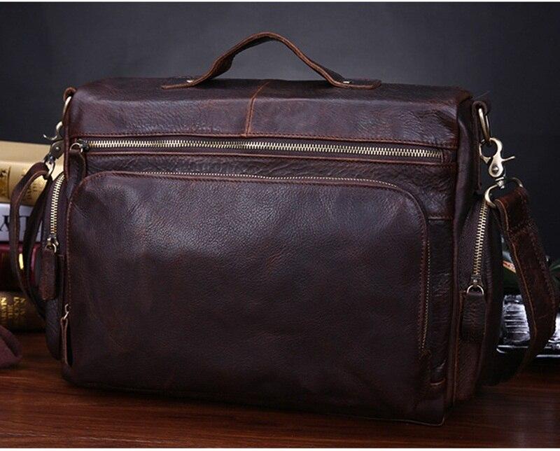 Vintage prave kože muške aktovku torbu poslovne muške laptop - Aktovke - Foto 5