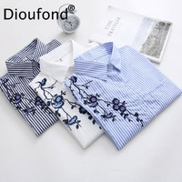 Dioufond Women Embroidered Floral Striped Shirt White Blue Female blouse Long Sleeve Blouses 2017 Autumn Casual Ladies Tops
