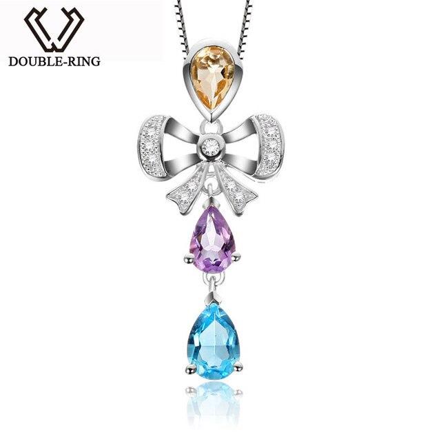 DOUBLE-R Colorful Topaz Pendant Women Genuine 925 Sterling Silver Necklaces & Pendants Trendy Anniversary Fine Jewelry CAP02424A