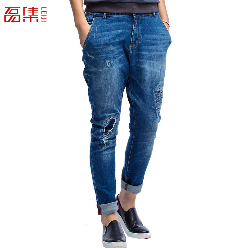 New YOYO Women Summer Autumn Loose Pants 2015 Gray Elastic Mid Waist Dual