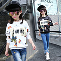 Children fall girls long-sleeved T-shirt black and white polyester butterfly print child recreational sweater coat TOP10