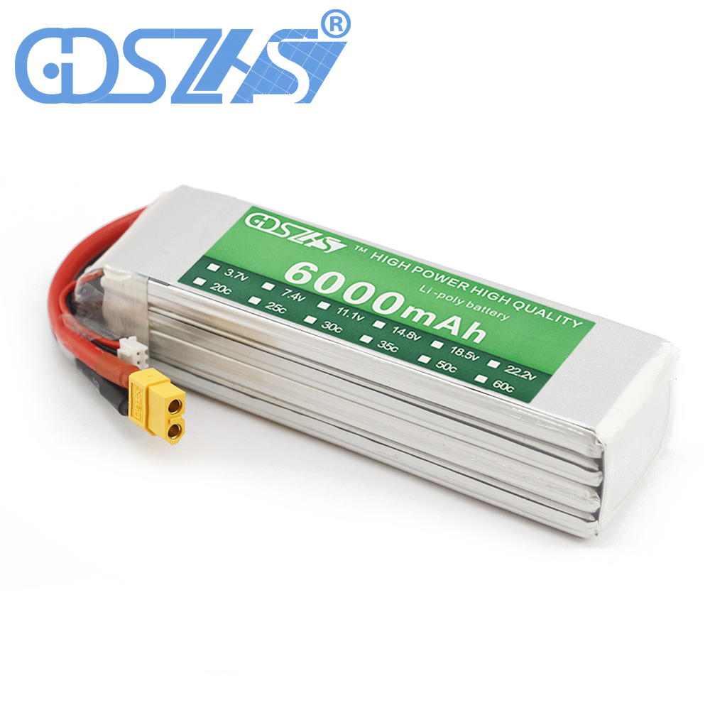 GDSZHS Power 14.8V 6000mAh Lipo Battery 30C 4S Battery LiPo 14.8V 6000 mAh 30C 4S Lithium-Polymer Batterie For RC car