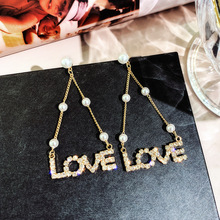 DREJEW Rhinestone Letter Love Long Tassel Pearl Statement Earrings 2019 925 Drop for Women Wedding Fashion Jewelry 2541