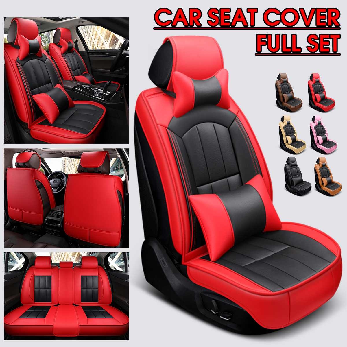 Full Set Leather Car Seat Cover Leather Backrest Seat Cushion Breathable 2pc Headrests Waist Pillows For All <font><b>5</b></font>-Seats Car Pad image