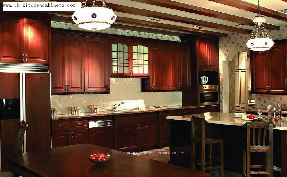 modular solid wood  kitchen cabinets(LH-SW035)