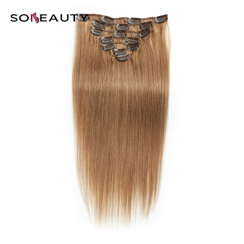 Brazilian 100%  human Straight Hair  Clip In  Hair Extensions No Tangle & Split 120g/Set 7 Piece  extensions light brown hair(China)