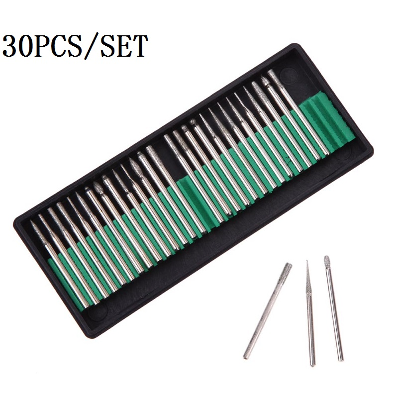 30pcs/set Diamond Burr Glass Drill Bits for glass, marble, rock or Rotary Tool Set 3mm Shank , For Dremel Rotary Power Tools portable 30pcs diamond burr bits drill for engraving etching dremel rotary tool set power tools 92x8