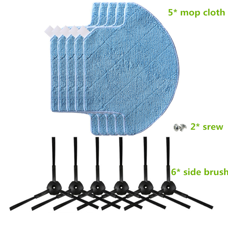 6* Side Brush + 2* srew + 5* V7 Mop cloth for ilife v7s v7s pro V7 pro robotic Vacuum Cleaner Parts Accessories side brush for ilife v7s pro ilife v7 v7s ilife v7s plus robotic vacuum cleaner for robot vacuum cleaner parts side brushes