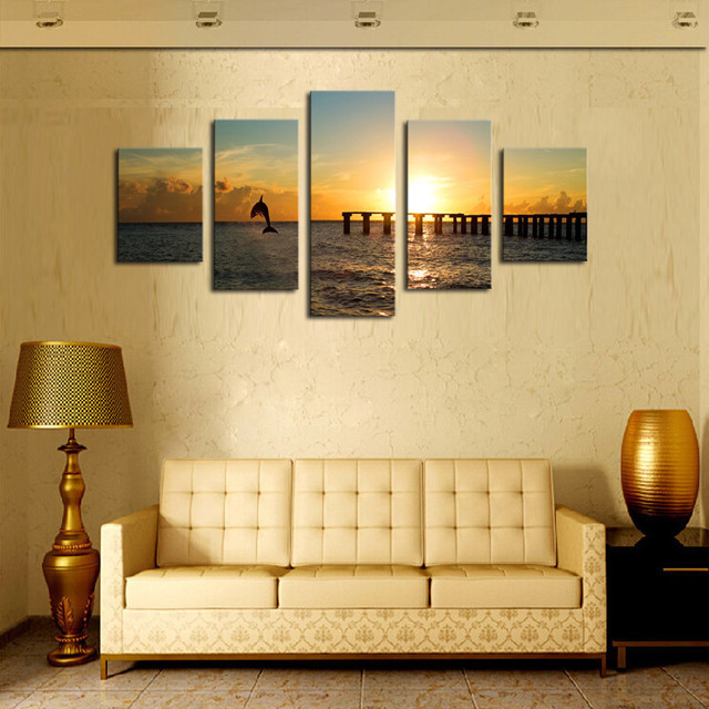 Unframed 5 Pieces Dolphins And Sunset Seascape Modern Wall Art ...