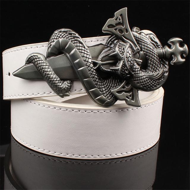 Moda cool punk cinturón de hebilla de metal cinturón de cuero patrón de la serpiente salvaje espada serpiente patrón estilo del punk rock