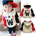 Kids Boys winter thicken plus velvet letter W star printed hoodies jackets warm coat cotton infant baby toddler boy windbreaker