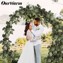 OurWarm Artificial Eucalyptus Plant Fake Leaves Wreath Backdrop Real Touch Garland Party Favors Wedding Supplies Decoration
