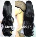 """Женская хвост шиньоны 20 """" волнистые хвост наращивание волос синтетические наращивание волос хвост # 1 черные как смоль волосы хвост"""
