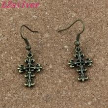 Filigree Flower Cross Earrings Fish Ear Hook 24pairs/lot Antique bronze Chandelier Jewelry 14x40.5mm A-327e faux crystal filigree chandelier earrings