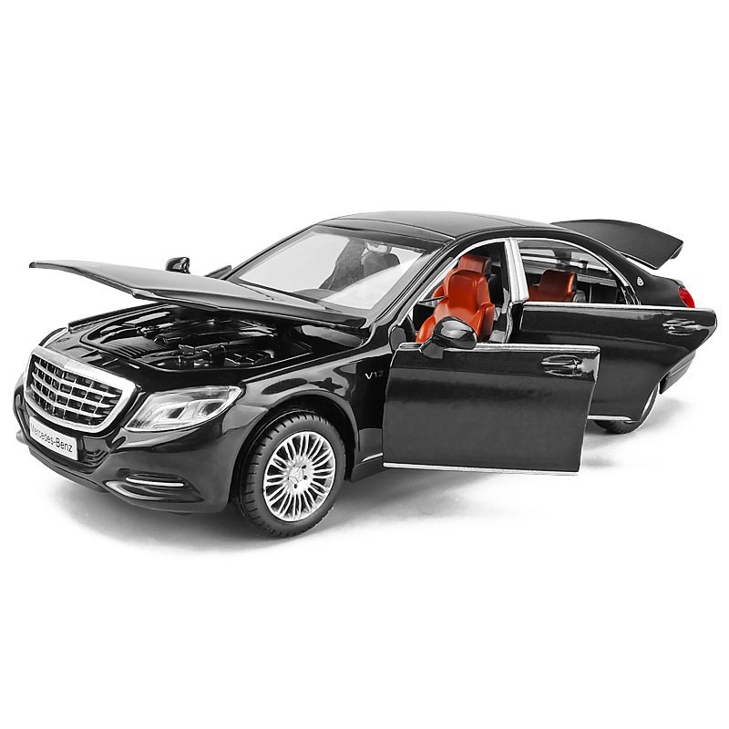 <font><b>1/32</b></font> Maybach S600 Diecast Metal <font><b>Car</b></font> <font><b>Models</b></font> High Simulation Vehicle Toy With Light Music 6 Doors Can Be Opened Gifts For Children image