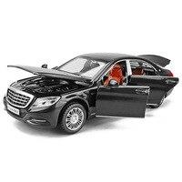 1/32 Maybach S600 Diecast Metalen Automodellen Hoge Simulatie Voertuig Speelgoed Met Licht Muziek 6 Deuren Kunnen Worden Geopend Geschenken voor Kinderen