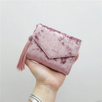 de42cf201 Retro de terciopelo sobre borla pequeña cartera de mujer triple Mini  mujeres bolso de embrague marca