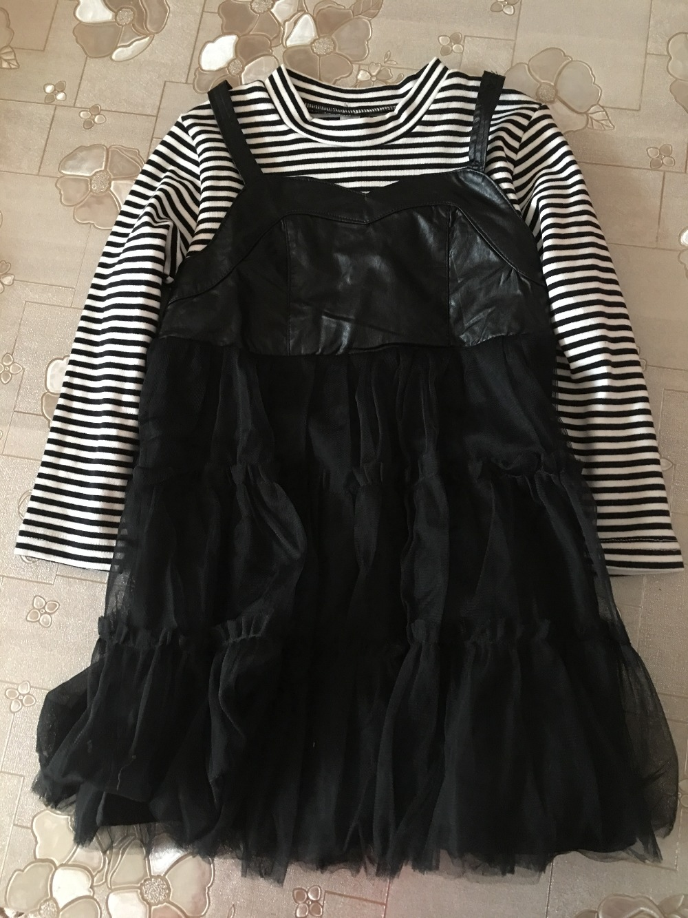 (1piece lot)  cotton Black and white stripes  baby cool princess  dress autumn 2018