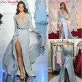 WDZ-300 Partido Prom dress Sexy Profundo Escote en v de Oro Sash Celebrity Inspired Vestidos de Costura A Mano Llena Rebordear Alfombra Vestido Lateral de Split Pierna