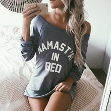 Casual Letter Print T shirt Women Long Sleeve Boat Neck Funny T shirts Plus Size Loose T-shirt Das Mulheres Tee Shirt Women Tops