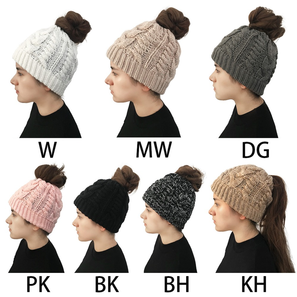 Women Girls Winter Braided Knitted Ponytail Messy Bun Beanie Hat Solid Color Chunky Thread Crochet Cap Stretchy Holey Ear Warmer