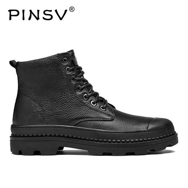 PINSV Kış Ayakkabı Erkekler Botları Sıcak Kürk Hakiki Deri Çizmeler Erkekler Kış Ayakkabı Motosiklet Askeri Bot erkek ayakkabısı Boyutu 38 -46