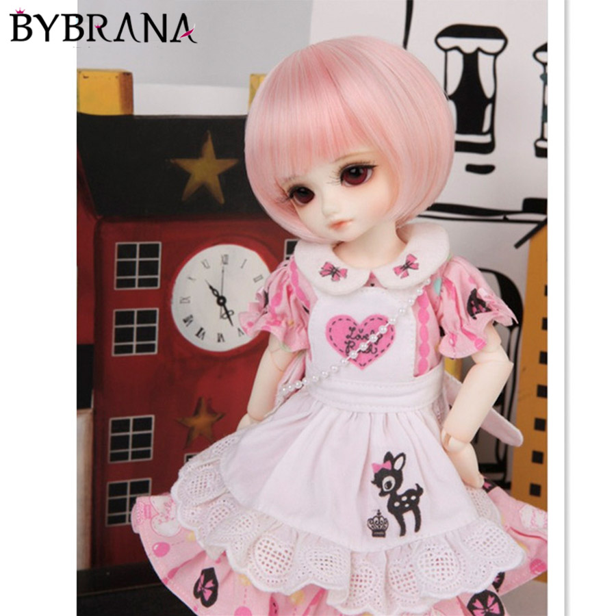 Bybrana 1PCS Pink High Temperature Fiber Hair 1/3 1/4 1/6 1/8 BJD Wig Short Wig For Dolls