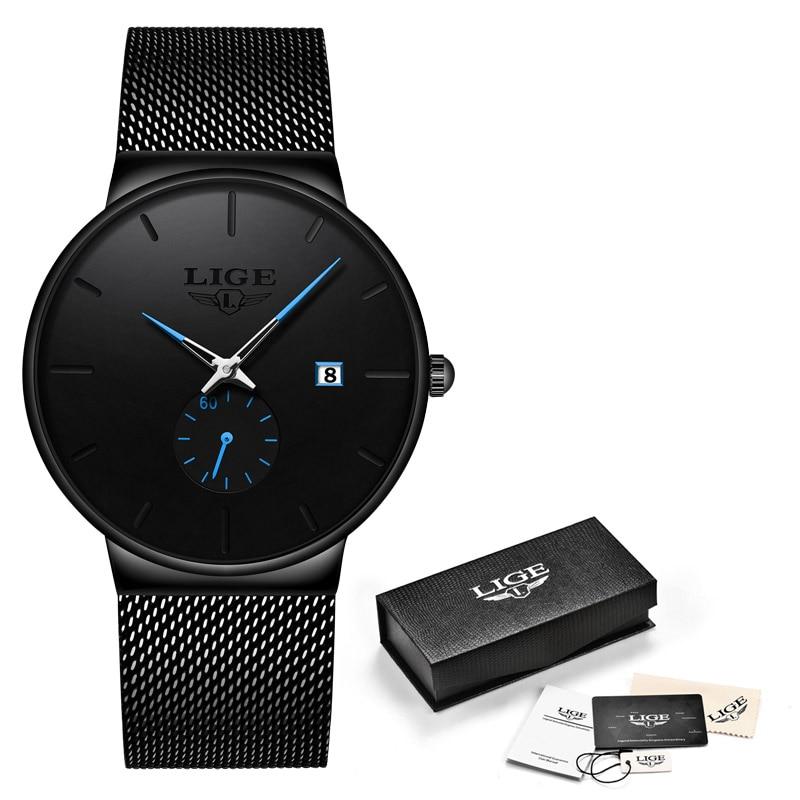 LIGE, модные часы, повседневные, водонепроницаемые, кварцевые, мужские часы, лучший бренд, Роскошные, ультра-тонкие, спортивные часы, Relogio Masculino - Цвет: Black blue