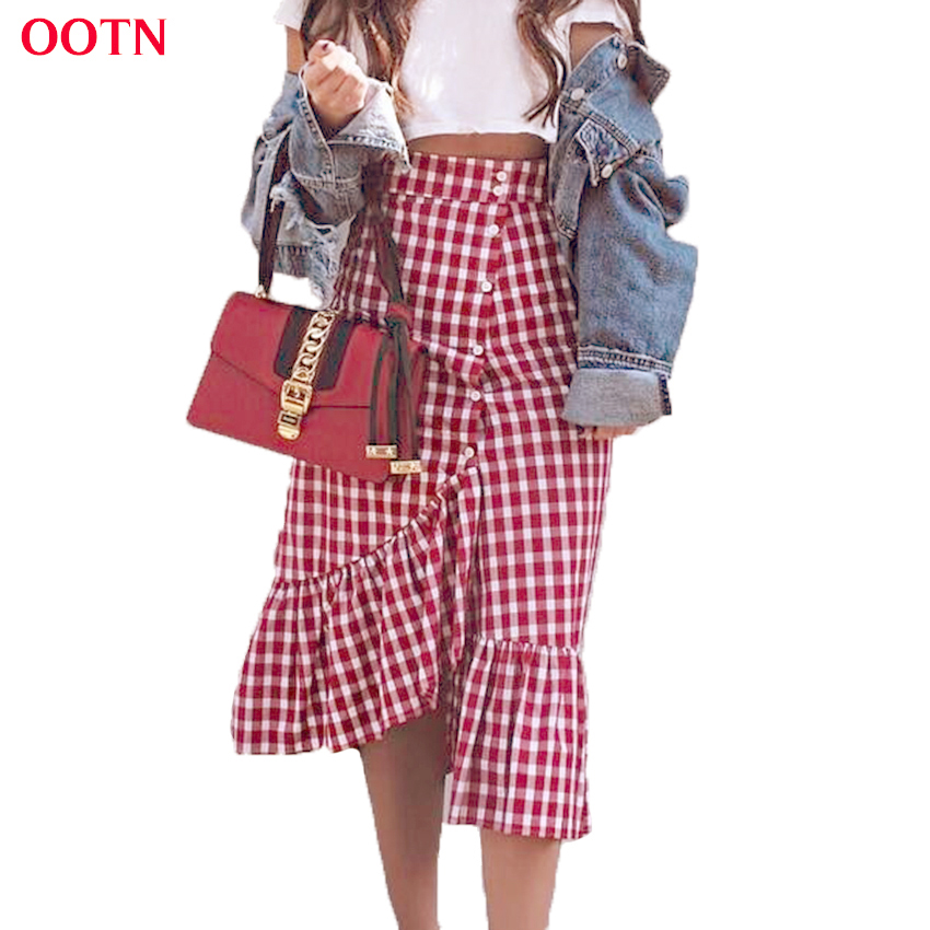 OOTN Check Gingham Midi Skirt Women Red White Plaid Empire Long Skirts Ruffled Female Spring Summer Skirt High Waist Cotton Club