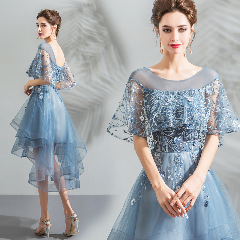 2018 new stock plus size women pregnant bridesmaid dresses wedding party high low backless lace flower sexy romantic cheap dress