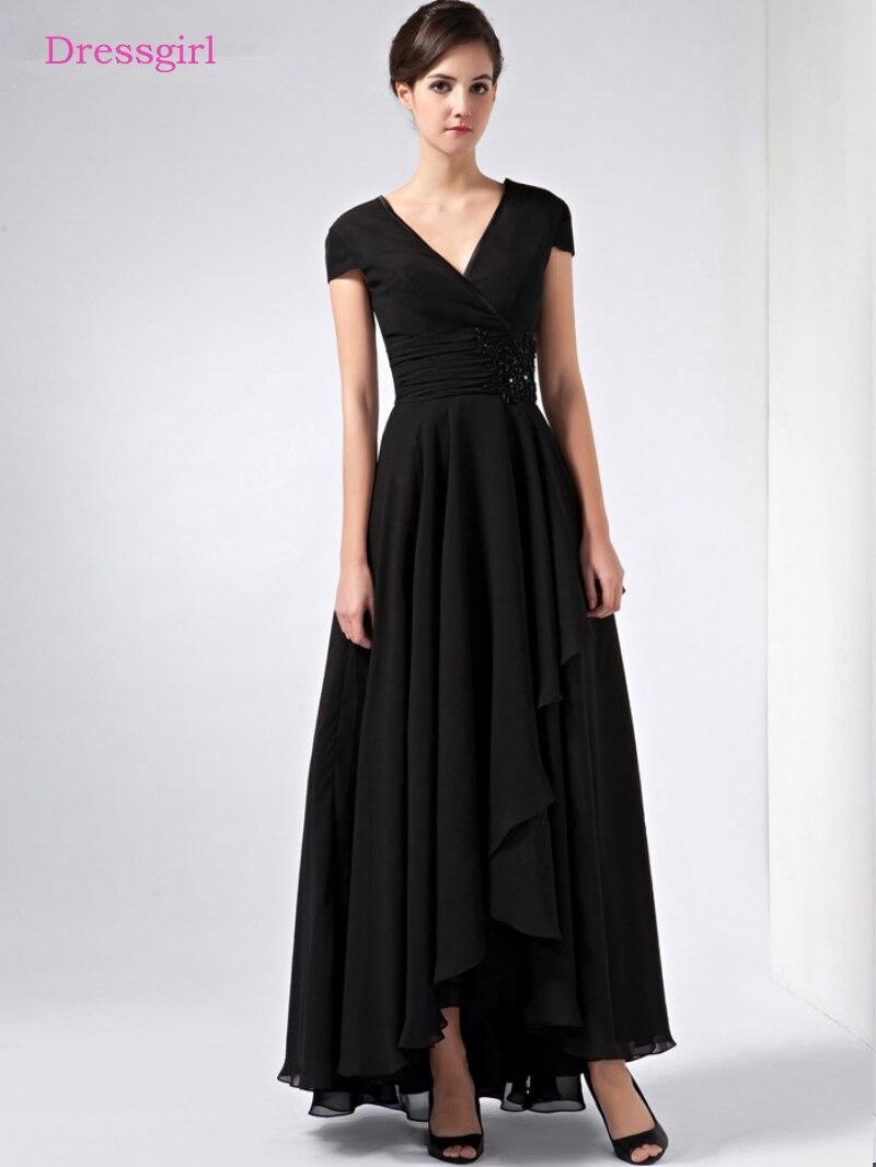 Black 2019 Mother Of The Bride Dresses A-line V-neck Cap Sleeves Chiffon Plus Size Long Elegant Groom Mother Dresses Wedding