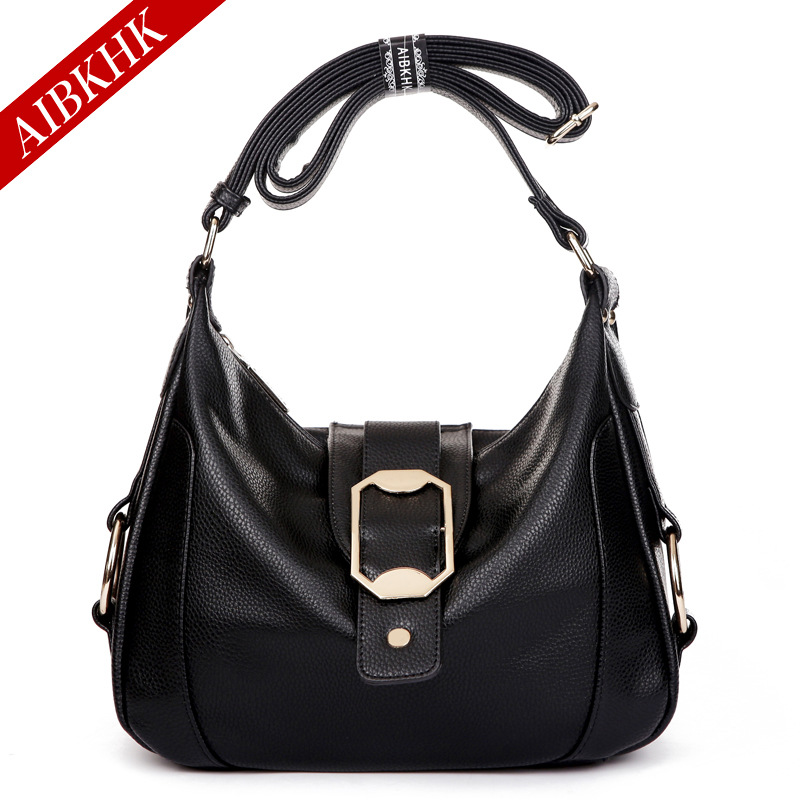 New Fashion High Quality Women Handbags Split Leather Ladies Shoulder Bags Female Girl Lichee Pattern Luxury Casual AIBKHK Bag luxury good quality new fashion women zipper jumpsuit slim fit skinny jeans rompers pocket denim jumpsuits size sexy girl casual