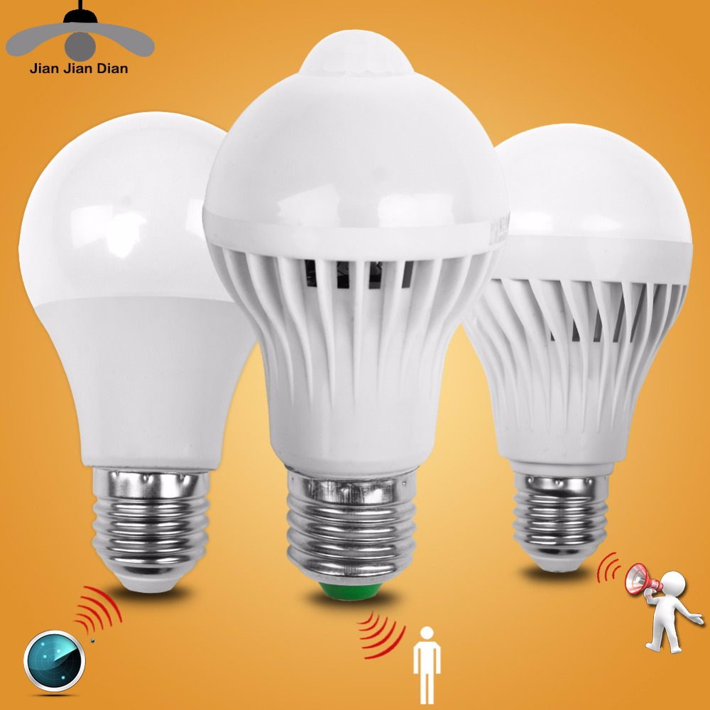 Led Bulb Motion Sensor Smart Pir Lamp Auto Sound Light Radar Infrared Body Lamp 110V 220V E14 E27 3W 5W 7W 9W 12W Home Decor litake led bulb lamp energy saving motion activated light bulb e27 9w pir infrared motion sensor light pir stairs night light