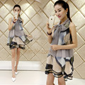 Moda mulheres Chiffon vestido de verão Beachwear túnicas vestidos impresso Halter mangas Mini vestidos Plus Size mulheres roupas de trabalho